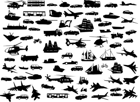 big collection of transportation silhouette - vector