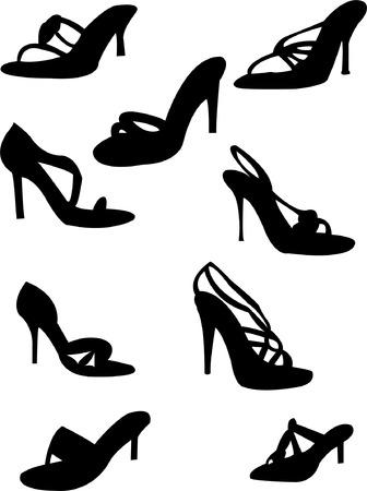pump shoe: sandals silhouette - vector