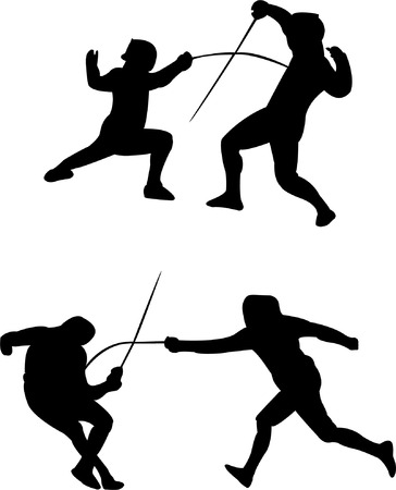 fencing silhouettes - vector Stock Vector - 8971664