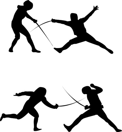 battle: fencing silhouette - vector