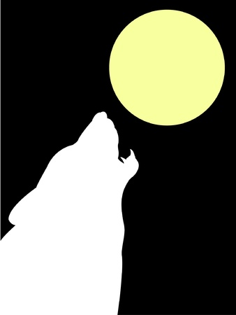Wolf and moon - vector Vector