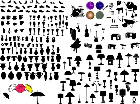 big collection of objects silhouette - vector Vector