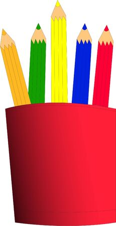 classroom supplies: colored pencils in cup - vector