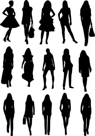 casual business team: collection of models silhouette - vector