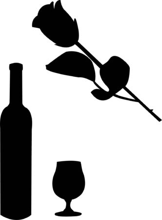wine and rose illustration  Vector