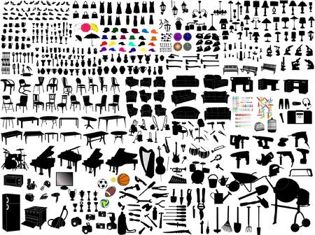 collection of household items silhouettes Vektoros illusztráció