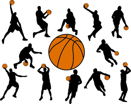 basketball shot: basketball players - vector
