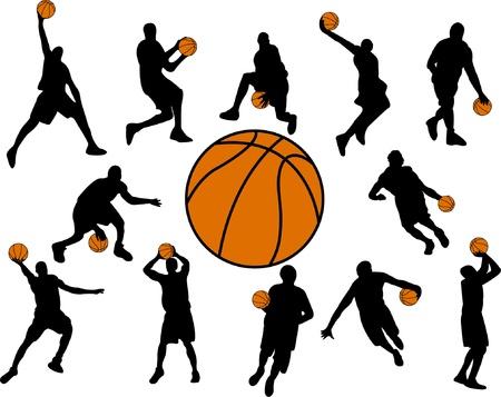 basketball net: basketball players - vector