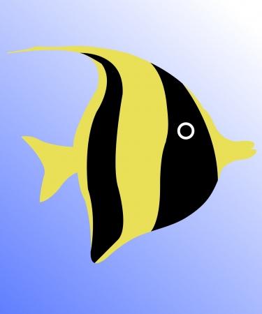 algae cartoon: fish under water - vector Illustration