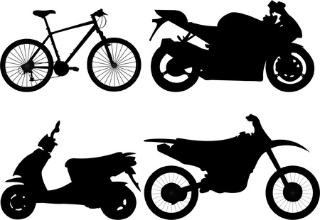silueta moto: Silueta de bicicletas y motocicletas. Vectores