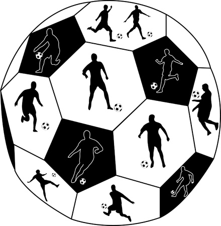 emulation: football players with ball silhouette.