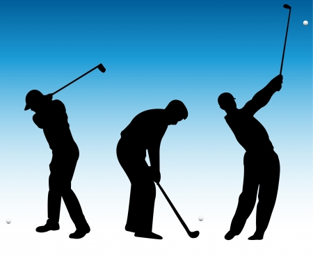 golf swing: golf players silhouette