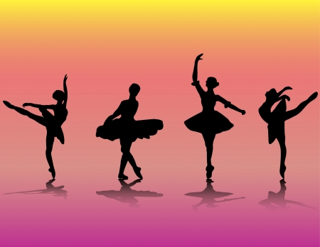 illustration with ballet dancer silhouettes  Illustration