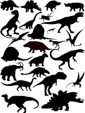 dinosaurus: Dinosaurs silhouette - vector Illustration