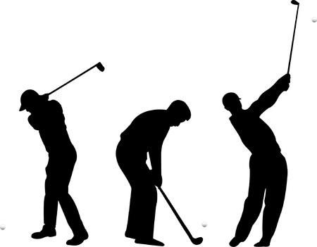 golfing: Golf silhouettes - vector Illustration