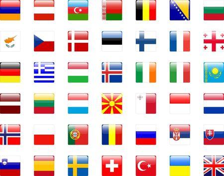 azerbaijan: Buttons of european flags - vector