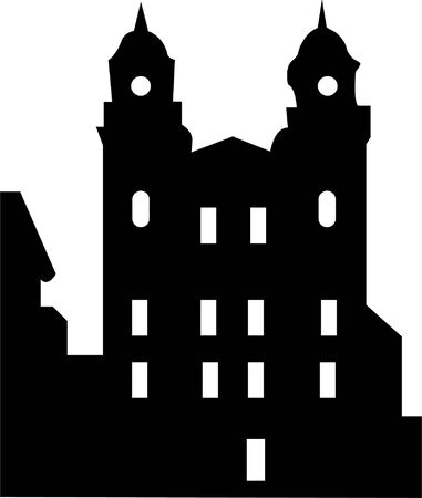 immovable property: Illustration of old house silhouette - vector