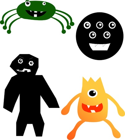 Set of different cute funny cartoon monsters - vector Vector