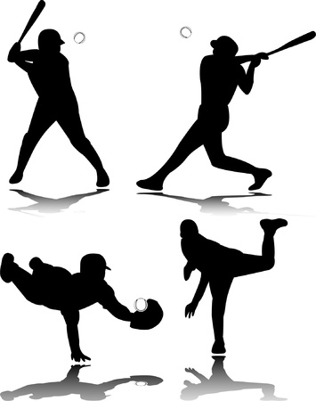 baseball game: Baseball players silhouette - vector