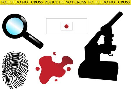 non urban scene: Crime scene elements - vector Illustration