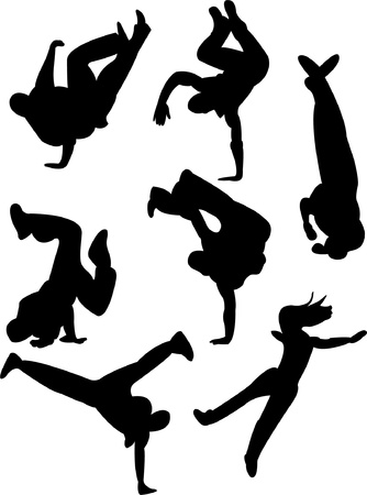 Breakdancers silhouette - vector