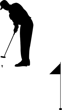 Golf player silhouette - vector Vector