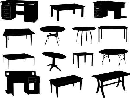 Collection of tables silhouettes Vector