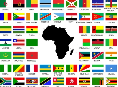 sudan: Collection of African flags with continent Illustration