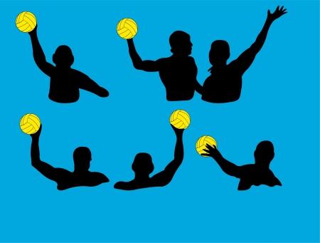 waterpolo: Ilustraci�n de agua siluetas jugadores de polo