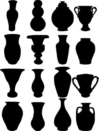 antique vase: Vase collection silhouette