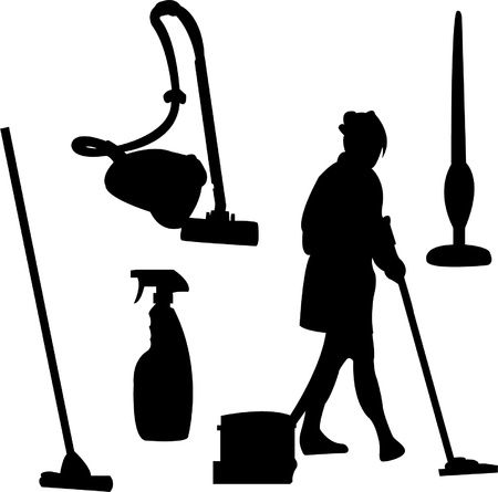 cleaning bucket: Illustration of cleaner silhouette Illustration