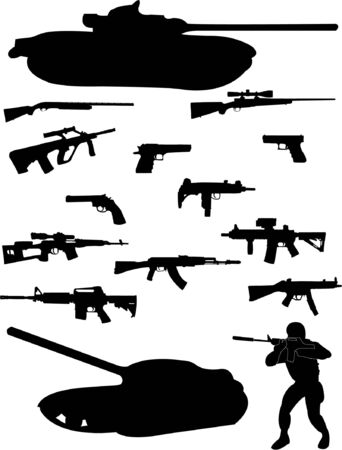 guerrilla warfare: Soldier and weapons silhouette Illustration