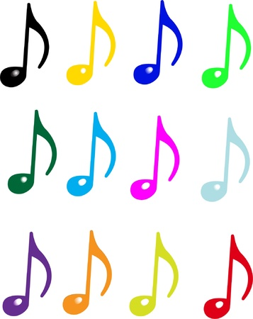 music notes vector: Collection of music notes - vector