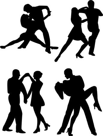 dance shadow: Dancing people - vector Illustration