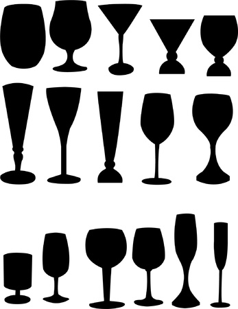 Collection of glass silhouettes - vector Vector