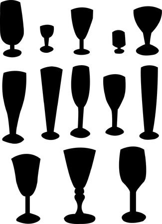 Collection of glass silhouette  Vector