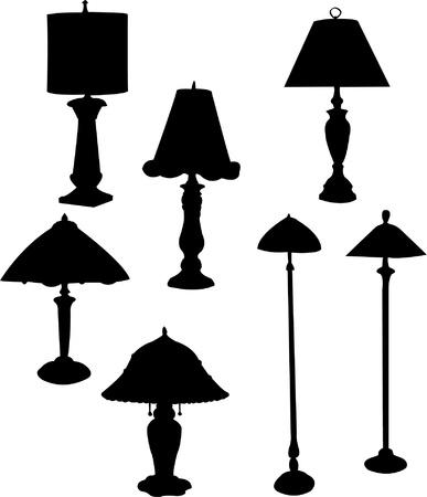 furnishing: Lamp silhouet collectie Stock Illustratie