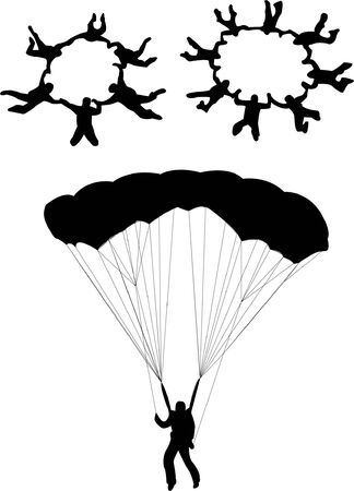 glider: Sky diving silhouette  Illustration