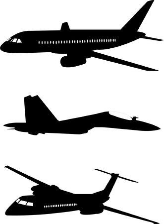 aircraft landing: Airplanes silhouette - vector