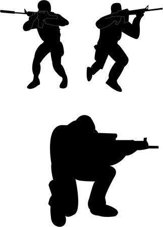 Soldiers silhouette - vector Vector