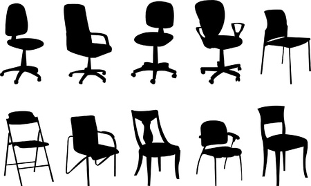 Chairs silhouette collection - vector Vector