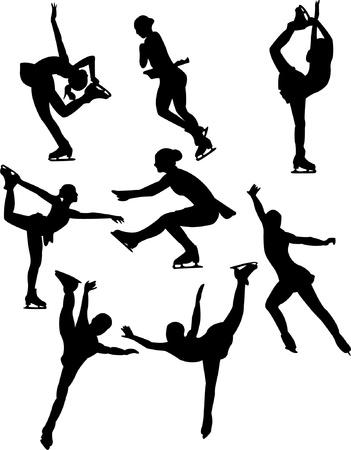 Collectie schaatsen silhouet Vector Illustratie