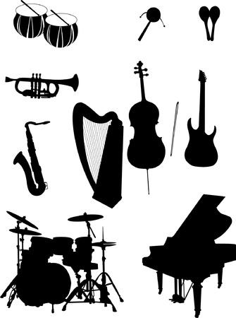 pilas: Siluetas de instrumentos musicales Vectores