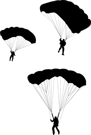 hang gliding: Sky diving silhouette  Illustration