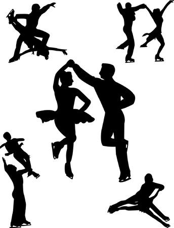 figure skate: couples ice skating  Illustration