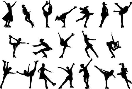 アイス スケートのシルエット - ベクター  イラスト・ベクター素材