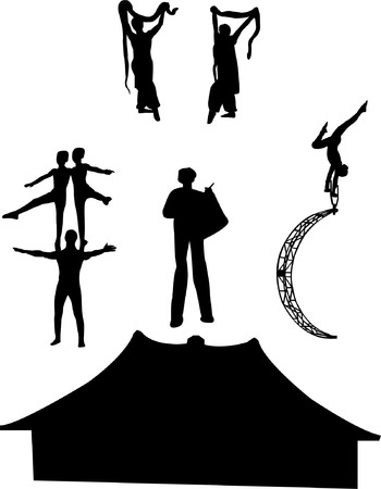 collection of circus artists silhouette - vector Vector
