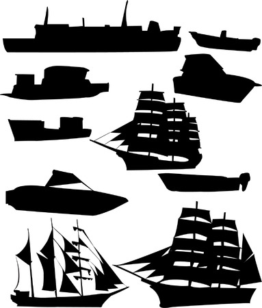mere: Collection of ships silhouette - vector