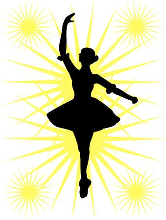 lyrical dance: Ballerinas silhouette - vector Illustration