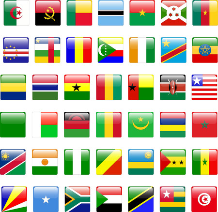 buttons of african flags - vector Vector